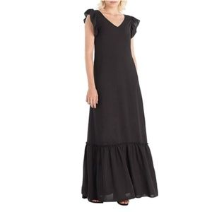 V-Neck Ruffle Cap Sleeves Tiered Maxi Dress